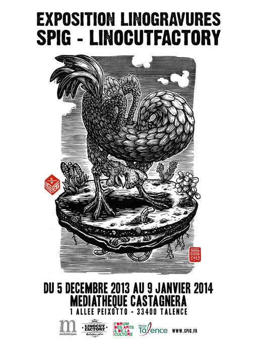 Expo linogravure Spig Linocutfactory à Talence