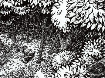 Linogravure noir et blanc d'après Perrrault