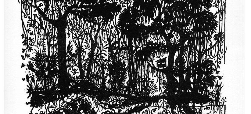Jungle - Linogravure noir et blanc