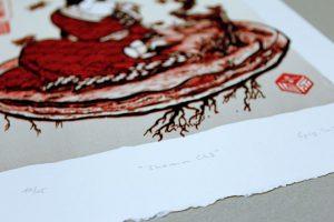 Shamu cho (détail) Linogravure couleurs linocutfactory