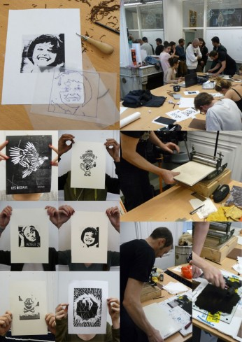 ateliers workshops linogravure spig linocutfactory sup de pub
