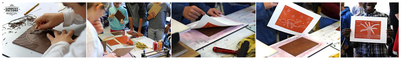 Atelier mobile de linogravure en déplacement au collège Bberthelot à Bègles en mai 2016. Gravures, encrages et tirages sur le thème du carnet de voyage au Maroc