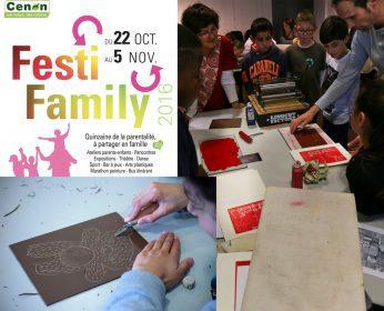 Ateliers linogravure et illustration à Cenon pour le festival Festi'family avec Spig Linocutfactory