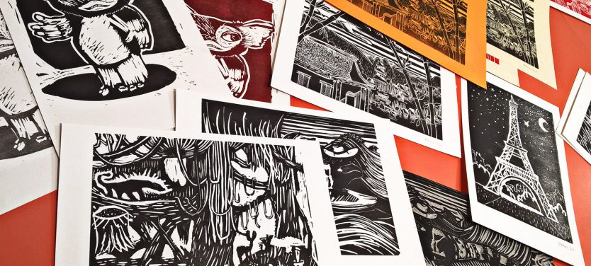 Ateliers linogravure et illustration à Cultura - Bègles spig linocutfactory stephane getas cultura bègles